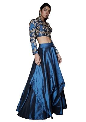 Blue thread embroidery   silk semi stitched lehenga