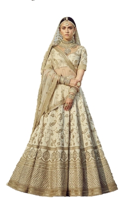 White thread embroidery