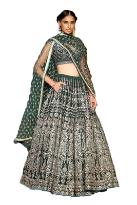 Green thread embroidery