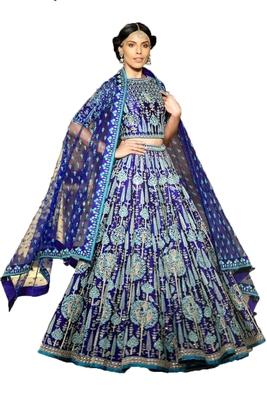 Royal-blue thread embroidery  silk semi stitched lehenga