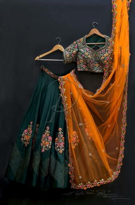 Dark-green thread embroidery  art silk semi stitched lehenga