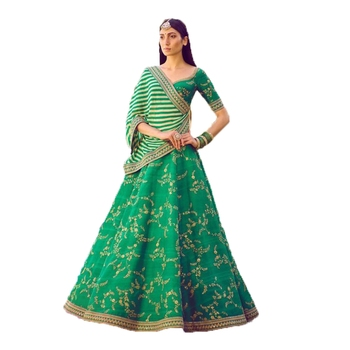 Green thread embroidery   silk semi stitched lehenga