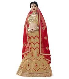 Buy Beige embroidered net semi stitched lehenga wedding-lehenga online