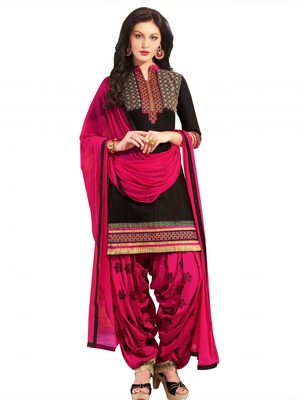Black embroidered cotton unstitched salwar with dupatta