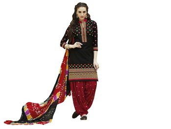 Black embroidered cotton unstitched salwar with dupatta