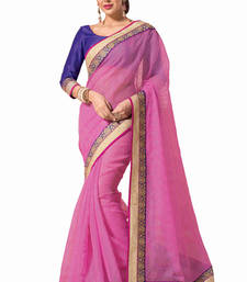 Buy Pink embroidered art-silk saree with blouse art-silk-saree online