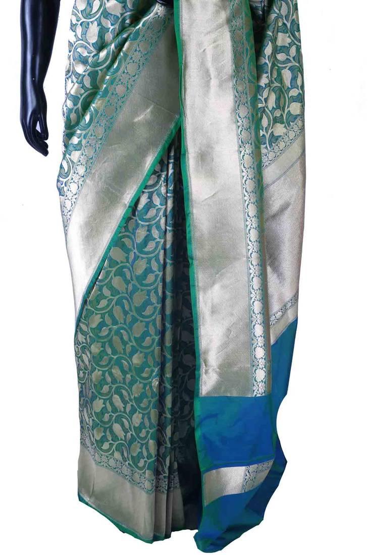 9a767fc1ca Peacock blue pure silk zari weaved saree in silver border & pallu ...