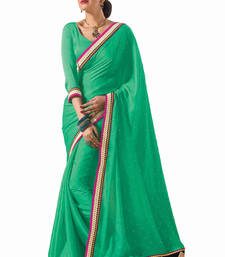 Buy Sea-Green embroidered chiffon saree with blouse chiffon-saree online