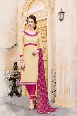 Beige embroidered cotton unstitched salwar with dupatta