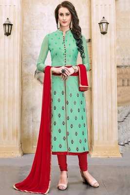 Light Green embroidered cotton unstitched salwar with dupatta