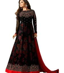 Black embroidered georgette anarkali suit