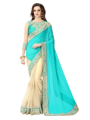7dd2593e93682 Beautiful Firozi color embroidered georgette wedding saree With embroidered  work Blouse - GLORY SAREES - 1331586
