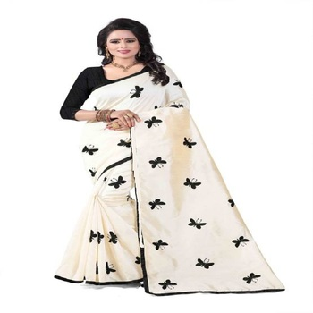 Black Embroidered South Silk Saree With Blouse