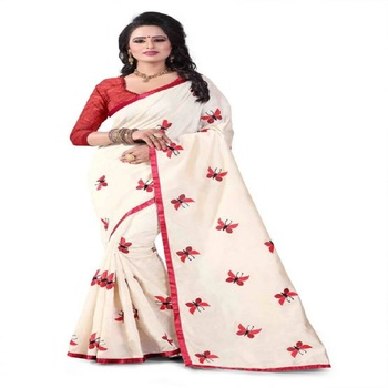 Red Embroidered South Silk Saree With Blouse