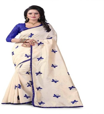 Blue Embroidered South Silk Saree With Blouse