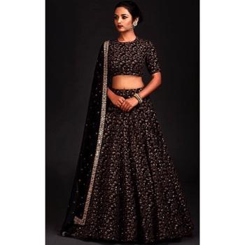 abcdafa2cffad Black Floral Print Raw Silk Semi Stitched Lehenga Choli - Fashion Carnival  - 2591936