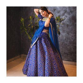 Blue Floral Print Raw Silk Semi Stitched Lehenga Choli