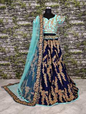 Navy-Blue Floral Print Velvet Semi Stitched Lehenga Choli