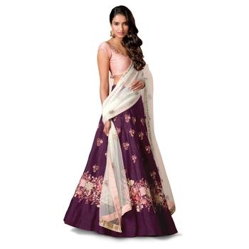 Purple Floral Print Raw Silk Semi Stitched Lehenga Choli