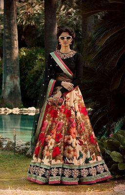 Multicolor Floral Print Art Silk Semi Stitched Lehenga Choli