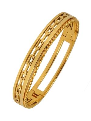 Italian 22K Gold 316L Surgical Stainless Steel Openable Free Size Kada Bracelet Boys Men
