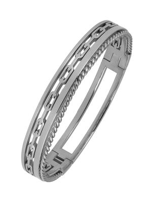 Italian Silver Rhodium 316L Surgical Stainless Steel Openable Free Size Kada Bracelet Boys Men