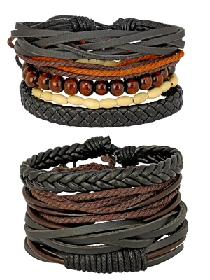 100% Genuine Black Leather Coconut Beads Dyed Rope Stylish Casual Wrist Band Strand Combo Pack Of 2 Bracelet Boys Men