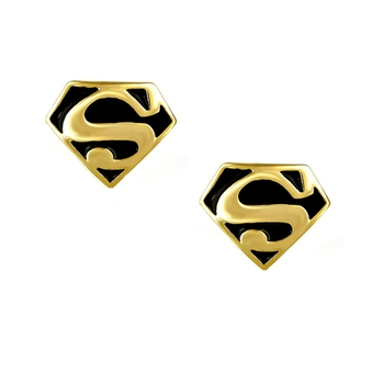 Formal Shirt Superman Logo Black Enamel Gold Plated Cufflinks Pair Boys Men Gift Box