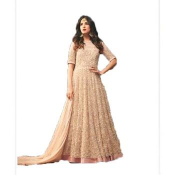Light-pink multi resham work art silk salwar