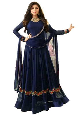 Blue thread embroidery georgette salwar