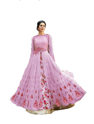 Pink thread embroidery georgette salwar