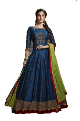 Blue thread embroidery art silk salwar