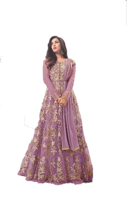 Violet thread embroidery net salwar