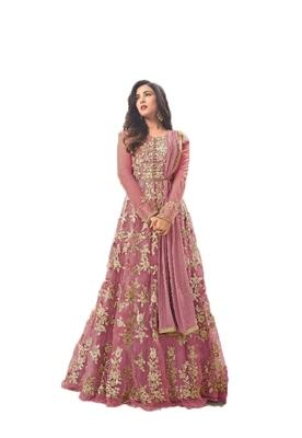 Dark-pink thread embroidery net salwar