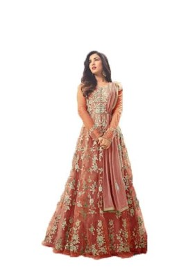 Orange thread embroidery net salwar