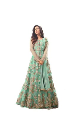 Blue thread embroidery net salwar