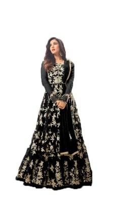 Black thread embroidery net salwar