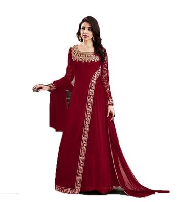 Red thread embroidery georgette salwar