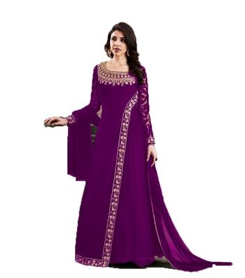 Violet thread embroidery georgette salwar