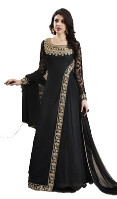 Black thread embroidery georgette salwar