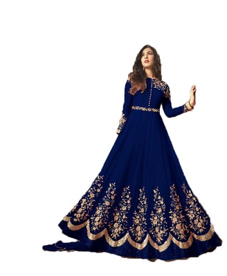 Blue multi resham work georgette salwar