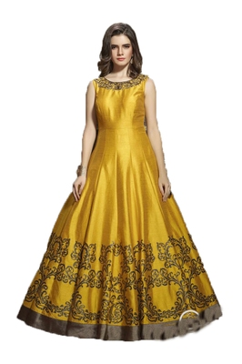 Yellow thread embroidery art silk salwar