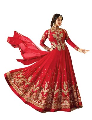 Red multi resham work georgette salwar