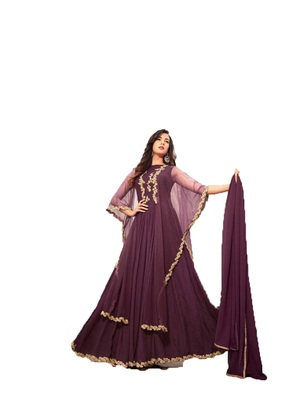 Dark-violet multi resham work georgette salwar