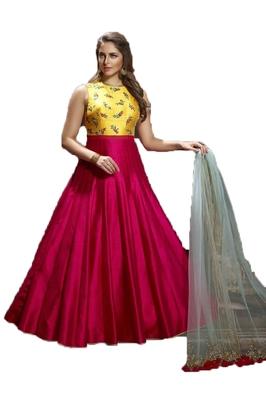 Red thread embroidery art silk salwar