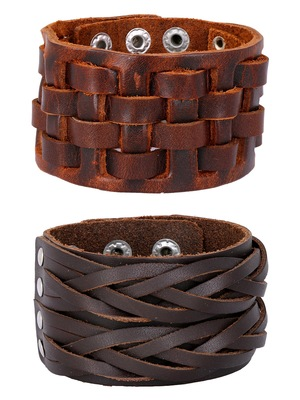 Braided Dark Brown Handcrafted & Funky Checks Mat Leather Wrist Band Combo Pack Of 2 Bracelet Boys Men