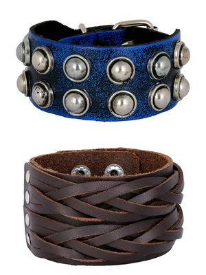 Casual Burnt Blue Black Handcrafted & Braided Dark Brown Leather Wrist Band Combo Pack Of 2 Bracelet Boys Men