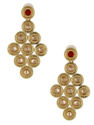 Long Champagne Maroon American Diamond CZ Kundan Antique Gold Plated Dangling Earring Girls Women