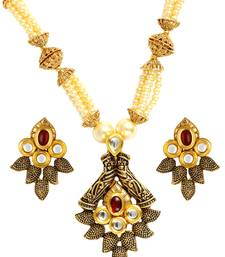 Traditional Antique Kundan Red Pearl Meenakari 22K Gold Earring Necklace Set Girls Women
