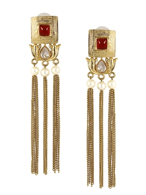 Traditional Lotus Maroon Kundan Pearl Tassel Dangling Long Earring Girls Women